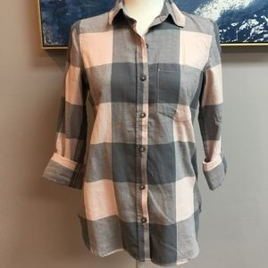 NWOT Grey and Pink Flannel Button Down